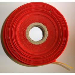 Ruban rouge plastifié assez rigide au mètre